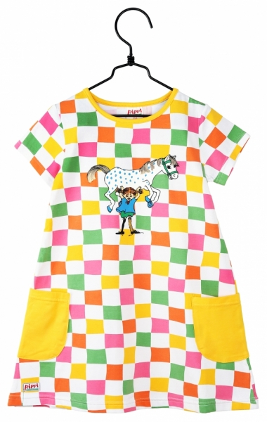 Pippidress - Checked short sleeve in the group Characters  / Pippi Longstocking at Astrid Lindgrens Värld (73096335)