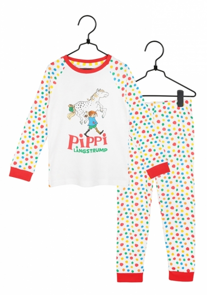 Pyjamas Pippi Longstocking - White spotted in the group Clothes / Night wear at Astrid Lindgrens Värld (73097200)