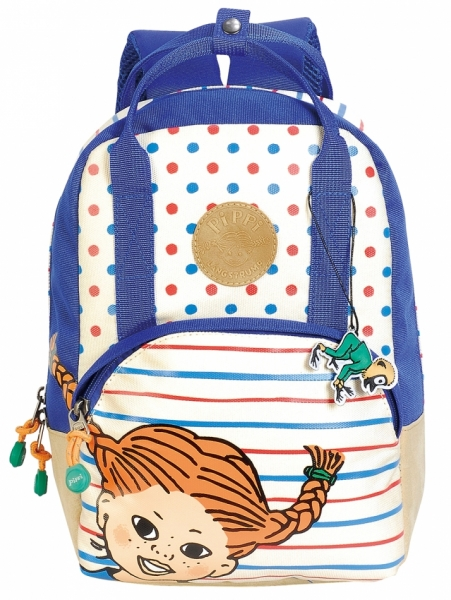 Backpack Pippi Longstocking - Blue/White in the group Toys / Backpacks / Luggage at Astrid Lindgrens Värld (7340076058844)